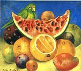 Still Life paintings - Still Life with Parrot by Frida Kahlo
