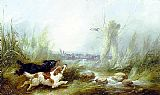 George Armfield Spaniels Putting Up a Mallard painting