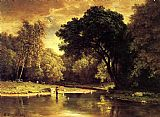 George Inness Fisherman in a Stream painting