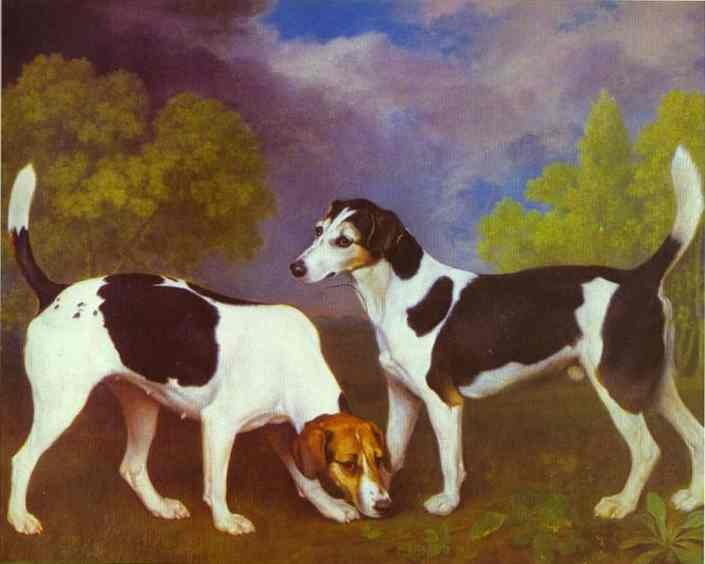 George Stubbs Hound and Bitch in a Landscape
