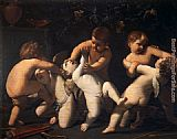 Guido Reni Angels Putti fighting painting