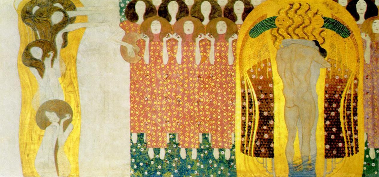Gustav klimt entirety of beethoven frieze left8 painting for Gustav klimt original paintings for sale