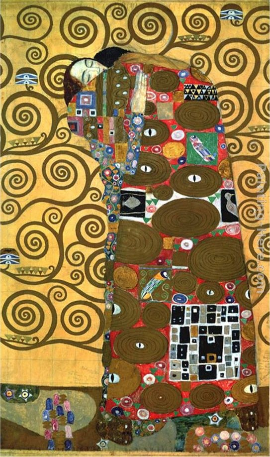 Gustav klimt fulfillment one of the kiss panels painting for Gustav klimt original paintings for sale
