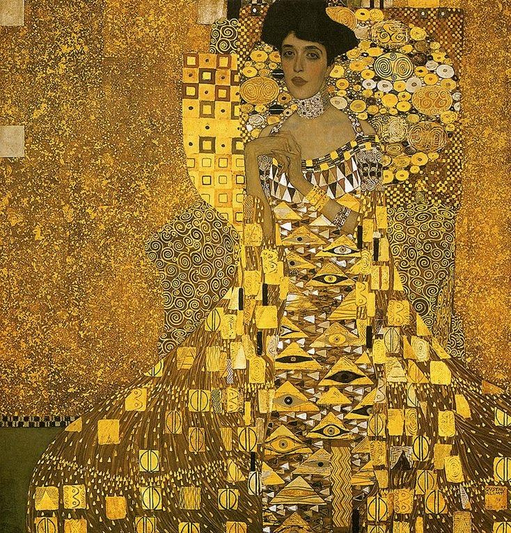 Gustav klimt portrait of adele bloch gold foil painting for Gustav klimt original paintings for sale