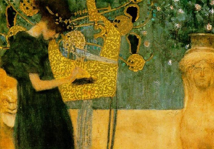 Gustav klimt the music gold foil painting best for Gustav klimt original paintings for sale