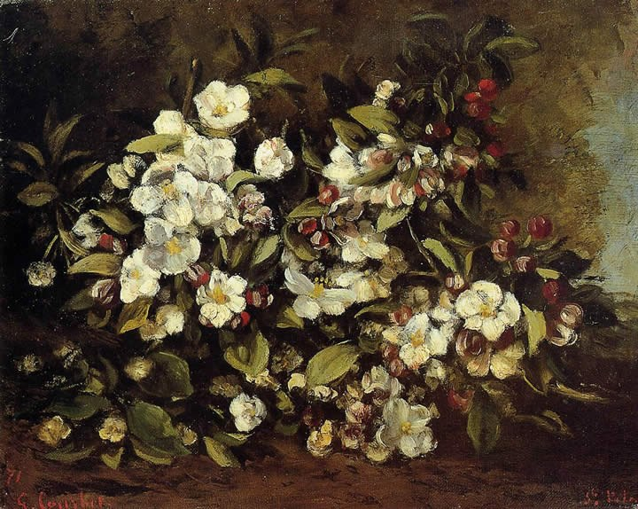 Gustave Courbet Flowering Apple Tree Branch