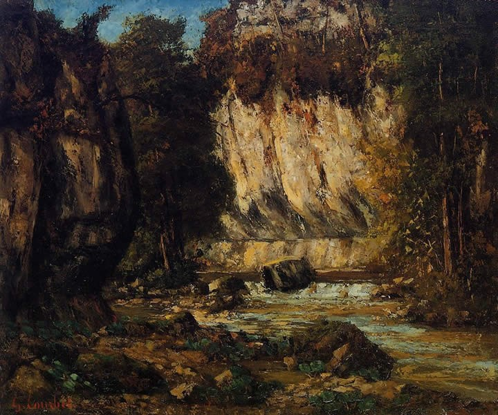 Gustave Courbet River and Cliff