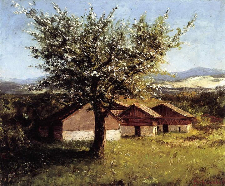 Gustave Courbet Swiss Landscape with Flowering Apple Tree