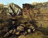 Gustave Courbet Crumbling Rocks painting