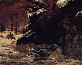 Gustave Courbet Deer in the Snow painting