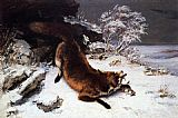 Gustave Courbet Fox in the Snow painting