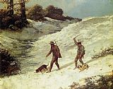 Gustave Courbet Poachers in the Snow painting