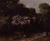 Gustave Courbet Rocky Landscape with Figure painting