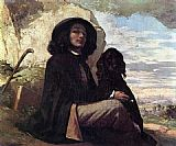 Gustave Courbet Self Portrait with a Black Dog painting