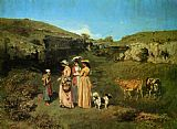 Gustave Courbet The Young Ladies of the Village painting