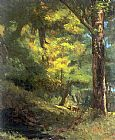 Gustave Courbet Two Goats in the Forest painting