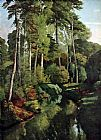 Gustave Courbet Waldbach with deer painting
