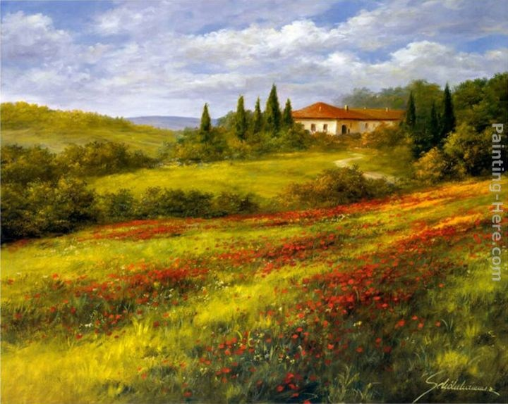 Heinz Scholnhammer Landscape with Poppies I Painting ...