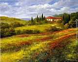 Heinz Scholnhammer Landscape with Poppies I painting