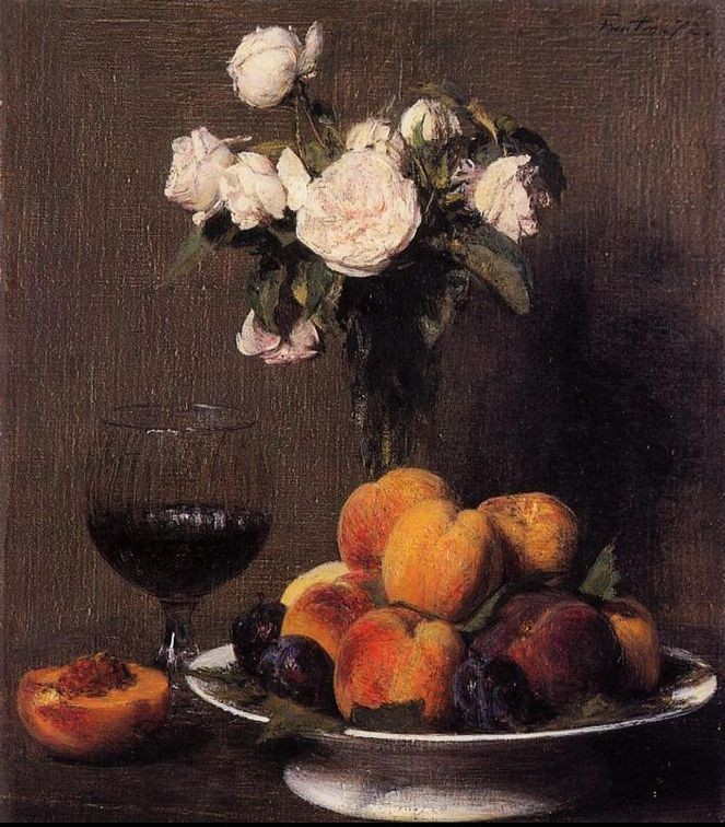 Henri Fantin-Latour Still Life with Roses Fruit and a Glass of Wine