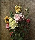 Henri Fantin-Latour Hollyhocks without Vase painting
