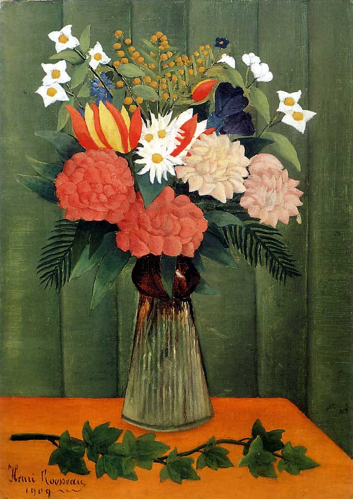Henri Rousseau Bouquet of Flowers with an Ivy Branch