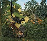 Henri Rousseau Fight Between a Tiger and a Buffalo painting
