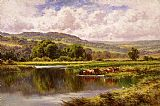 palette knife paintings - The River Mole, Dorking Surrey by Henry H. Parker