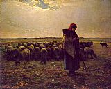 Jean Francois Millet Shepherdess with her flock painting