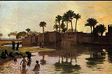 Jean-Leon Gerome Bathers by the Edge of a River painting
