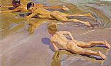 Beach paintings - Children on the Beach by Joaquin Sorolla y Bastida