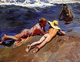 Beach paintings - On the Sand Valencia Beach by Joaquin Sorolla y Bastida
