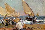 Joaquin Sorolla y Bastida Sailing Vessels on a Breezy Day Valencia painting