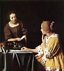 Johannes Vermeer Lady with Her Maidservant Holding a Letter painting