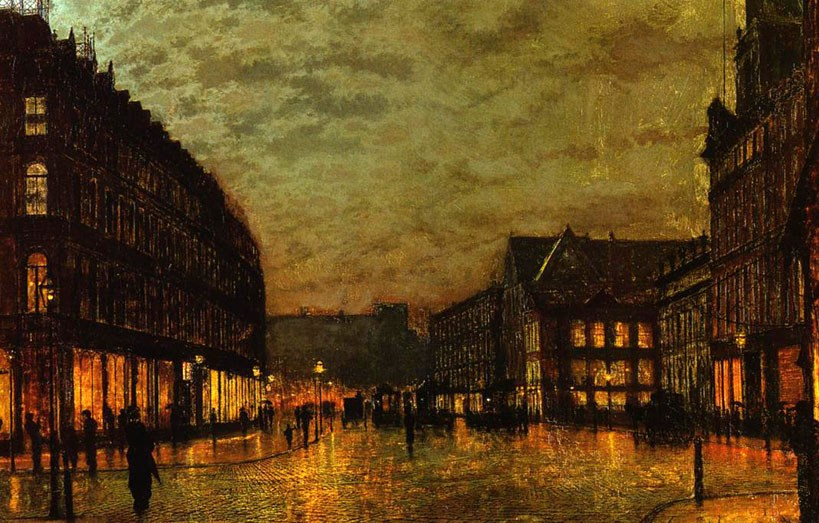 John Atkinson Grimshaw Boars Lane Leeds by Lamplight