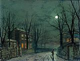John Atkinson Grimshaw The Old Hall Under Moonlight painting