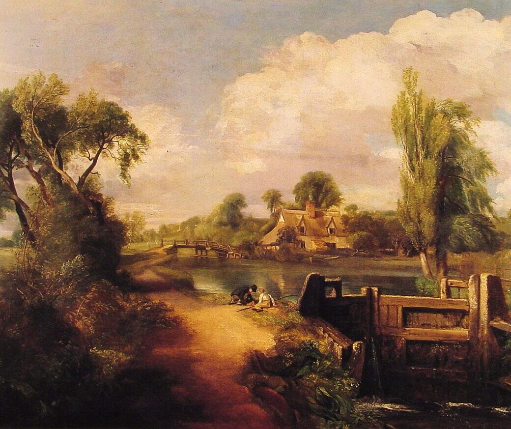 John Constable Landscape with Boys Fishing