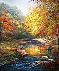 John Ottis Adams Beautiful trees with a quiet river painting