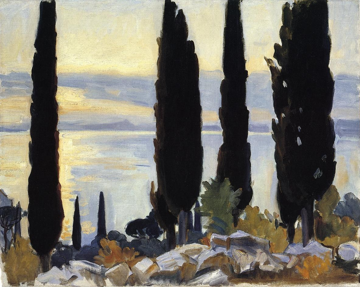 John Singer Sargent Cypress Trees at San Vigilio