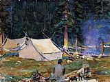John Singer Sargent Camping at Lake O'Hara painting