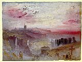 Joseph Mallord William Turner View over Town at Suset a Cemetery in the Foreground painting
