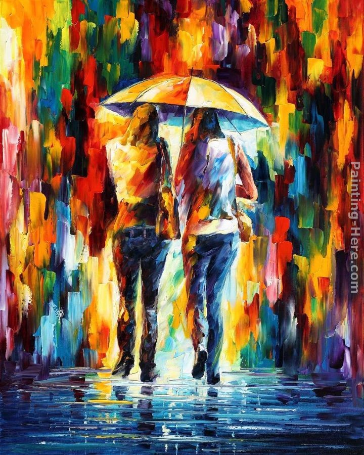 Leonid afremov friends under the rain painting best for Buy mural paintings