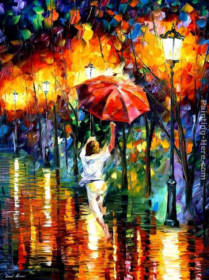 Leonid afremov red umbrella painting best paintings for sale for Painting red umbrella
