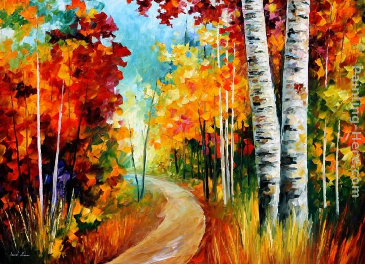 Leonid afremov white birches painting best paintings for for Famous prints for sale