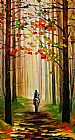 Leonid Afremov AUTUMN STROLL ON A HORSE painting