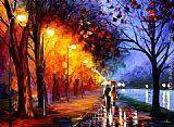 Romance paintings - Alley by the Lake by Leonid Afremov