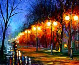 palette knife paintings - FALL,RAIN, ALLEY by Leonid Afremov