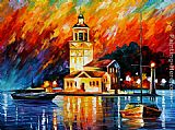 Leonid Afremov ROMANTIC HARBOR painting