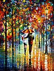 palette knife paintings - UNDER THE RED UMBRELLA by Leonid Afremov