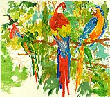 Leroy Neiman Birds of Paradise painting
